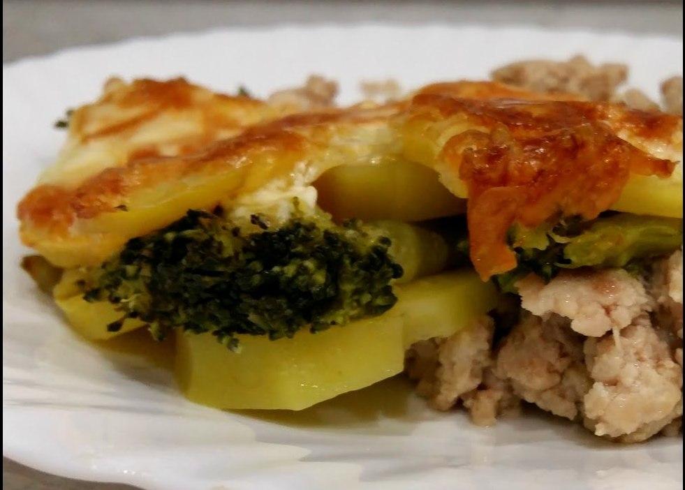 картофельная запеканка с брокколи
